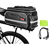 Arltb Bike Rear Bag (3 Colors) 15-25L Waterproof Bicycle Trunk Bag with Rain Cover Shoulder Strap Bike Pannier Tail Back Seat Bag Package Handbag Bike Accessories for Road Bikes Mountain