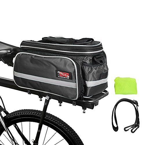 Arltb Bike Rear Bag (3 Colors) 20-35L Waterproof Bicycle Trunk Bag with Rain Cover Shoulder Strap Bike Pannier Tail Back Seat Bag Package Handbag Bike Accessories for Road Bikes Mountain (Black-)