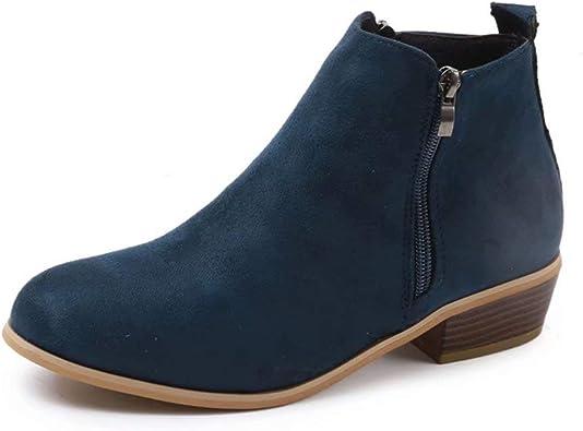 comprar Botines Mujer Invierno Tacon Botas Piel Medio Tacon Ancho Ante Botita 3cm Casual Tobillo Ankle Boots Suede Zapatos Negros Marrón Azul Leopardo 35-43 EU