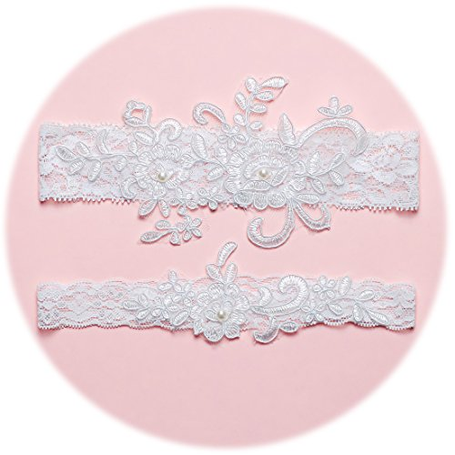 Slocyclub Lovely Women Ivory Bridal Garter With Pearl Lace Garter (Wedding Garter Set)