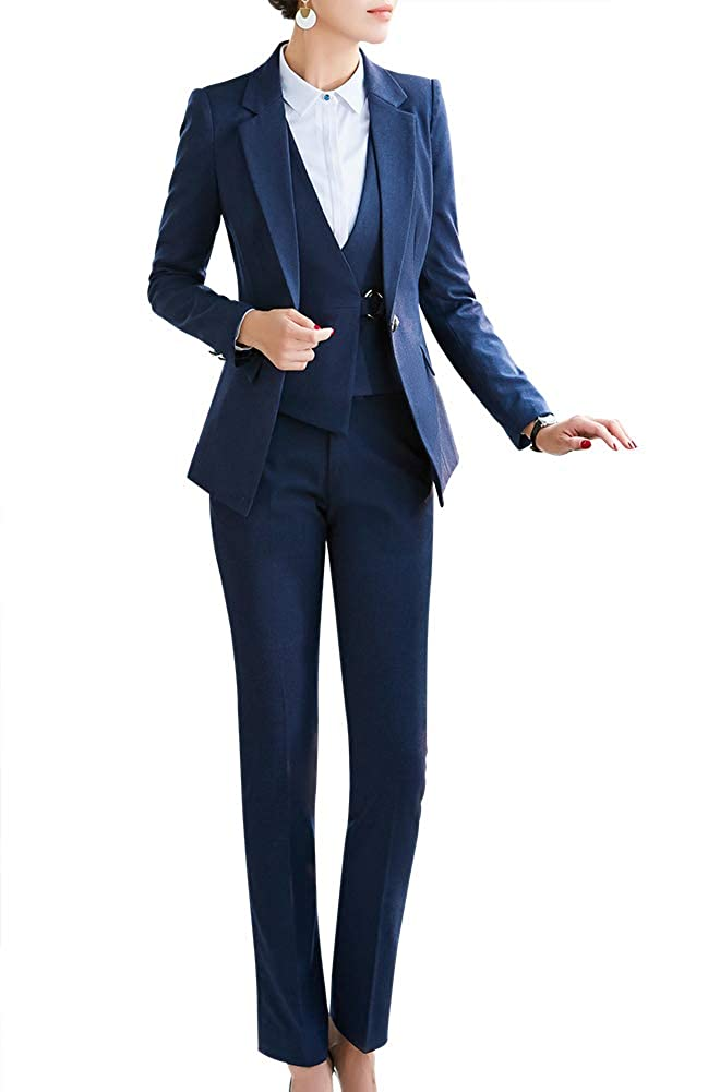 LISUEYNE Womens Three Pieces Office Lady Blazer Business Suit Set Women Suits for Work Skirt//Pant,Vest and Jacket