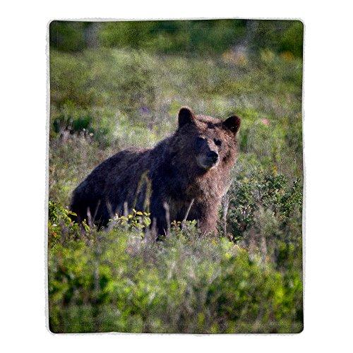 Lavish Home 64-Bear Sherpa Fleece Blanket, Grizzly Print