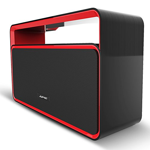 Apie Wireless Bluetooth Stereo Speaker with Bass and FM Radio - Black / Red