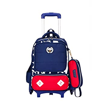 ZX Mochilas Escolar Infantiles con 6 Ruedas, Trolley Bolso Mochila Casual Mochilas Rolling Daypack,