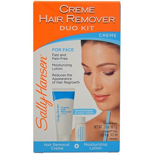 Sally Hansen Cream Hair Remover Kit, Mess-Free Lotion Formula Removes Unwanted Hair of the Face and Body, No Strips, No Applicators, Use on Face Eyebrows Lip Chin Legs Bikini Area ()