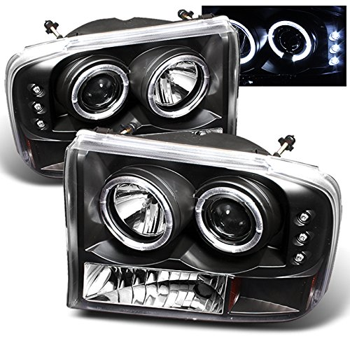 For Ford F-Series SuperDuty 00-04 Excursion Black Bezel Dual Halo Projector Headlights Replacement ()