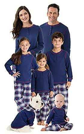 PajamaGram Snowfall PlaidMatching Family Pajama Set, Dog X-Small, Blue
