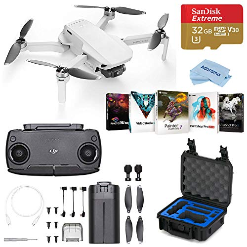 DJI Mavic Mini Drone FlyCam Quadcopter with 2.7K Camera, Hard Case Bundle with GPC Case, PC Software Pack, 32GB microSD Card