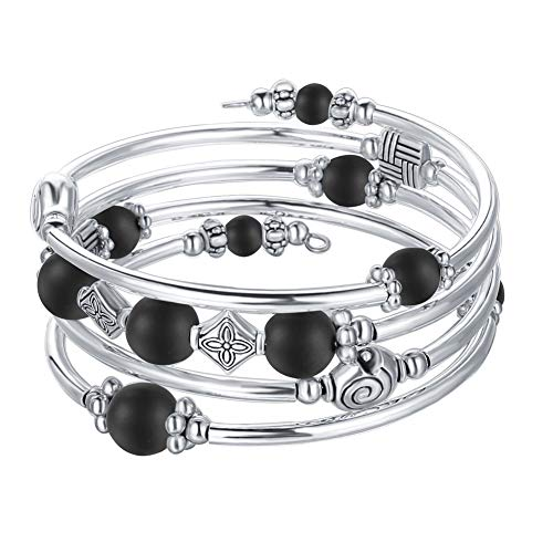 Charms Black Beaded (Beaded Pearl Bangle Wrap Bracelet - Fashion Bohemian Jewelry Multilayer Charm Bracelet with Thick Silver Metal Beads, Gift for Women and Girls (Matte Black))