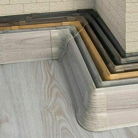 Au/ßenecke 62mm PVC Eiche grau Laminatleisten Fussleisten aus Kunststoff PVC Laminat Dekore Fu/ßleisten DQ-PP