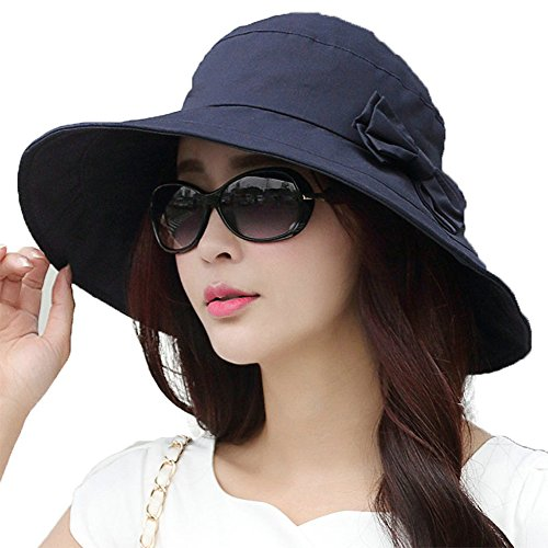 Womens Summer Bucket Boonie UPF 50+ Wide Brim Sun Hat Cord Cap Beach Accessories Navy (Hat Summer)