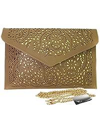 Missy K Retro Faux Leather Envelope Clutch Purse, Brown, + kilofly Money Clip