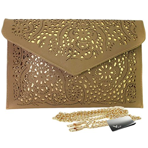 Missy K Retro Faux Leather Envelope Clutch Purse, Brown, kilofly Money Clip ()