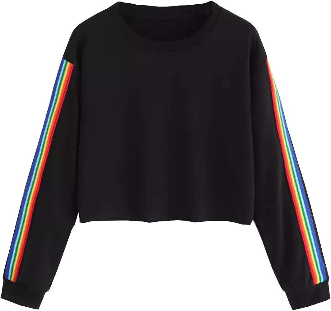 a2bf24a436 Sweat Shirt Court Femme, Sweatshirt Ado Fille Manches Longues Arc en Ciel  Rayé Sweat-Shirt Chic Crop Top Chemise Tee T Shirt Streetwear Sport Pull à  La Mode ...