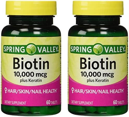 Spring Valley 10000mcg Biotin with 100mg Keratin Dietary Supplement, 60 Tablets (Pack of 2)
