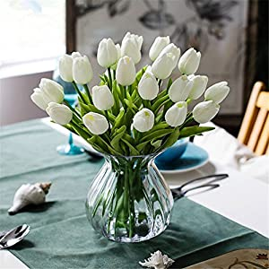 Heads Orchid 31Pcs/Lot Pu Mini Tulip Flower Real Touch Wedding Flower Bouquet Artificial Silk Flowers for Home Party Decoration 47
