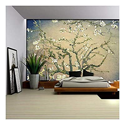 Olive Green with Blue Vignette Almond Blossom by Vincent Van Gogh - Wall Mural, Removable Sticker, Home Decor - 100x144 inches