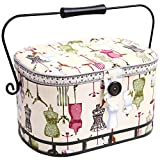 Prym Ivory Cotton Fabric with Multicolour Dress Form Print Metal/Wood Handle Sewing Basket-Large, Black & White, 30x20.5x19 cm