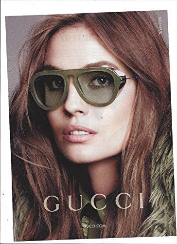 **PRINT AD** With Nadja Bender For Gucci 2014 Green Frame Eyewear **PRINT - 2014 Gucci Eyewear