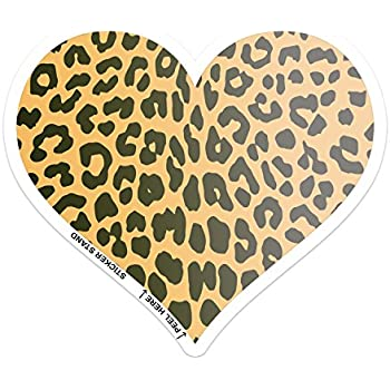 Amazon Com Cheetah Animal Print Heart Car Bumper Sticker