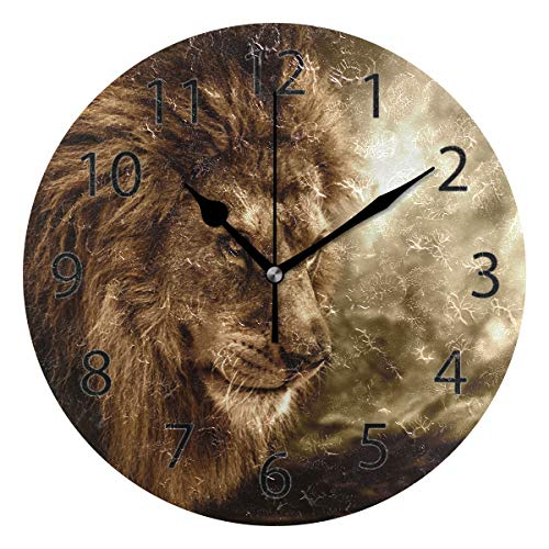 YATELI Wall Clock Shelf Round 10 Inch Diameter Cool Fierce Lion Face Silent Decorative for Home Office Bedroom