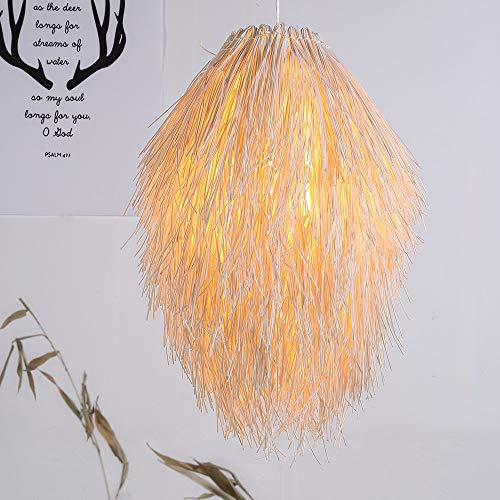 Arturesthome Creative Girl Long Hair Rattan Lighting, Handicraft Wicker Lighting, Natural Color Woven Light Shades, Suspension Luminaire Rotin by Arturesthome