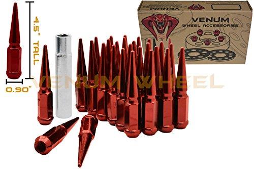 - Venum wheel accessories Complete Kit of RED Steel Solid Spike Metal Lug Nuts | 1/2