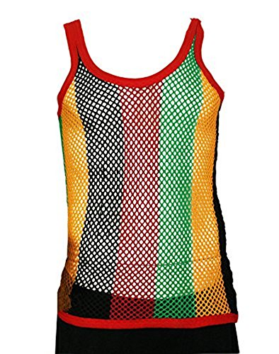 385d03130ccee2 UD Accessories 100% Cotton Rasta STRING VEST Mesh Fishnet Fitted Striped Black  Red Green Yellow Colours - Buy Online in Oman.
