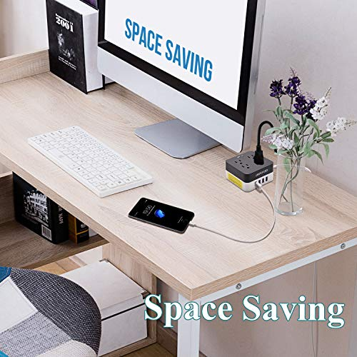 5V 4.8A USB Power Strip-JACKYLED Space Saving 9.8ft Long Cord Surge Protector 700J 2400W 4 Smart USB Port with 4-Socket Fast Charging Fireproof Outlets for Home Office Appliances Devices by JACKYLED (Image #3)