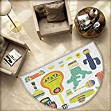Fiesta Semicircular Cushion Symbols from Mexico Guitar Face Aztec Mask Tequila Skull Musical Instruments Taco Entry Door Mat H 55.1'' xD 82.6'' Multicolor