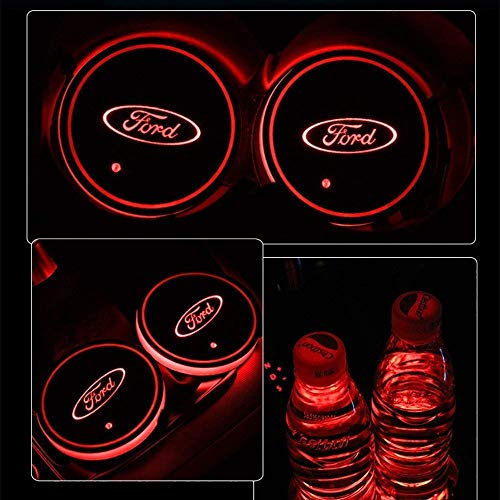 (ATlife LED Car Logo Cup Holder Pad Waterproof Bottle Drinks Coaster Built-in Light 7 Colors Changing USB Charging Mat Auto LED Cup Mat Car Atmosphere Lamp 2PCS (for Ford))