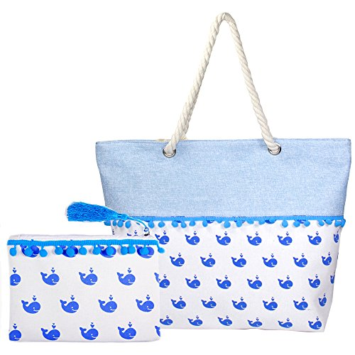 by you Summer Themed Print PomPom Large Tote Shoulder Beach Bag with Zipper Closure Rope Handle (2 Pcs - Pom Pom Whale Print) -