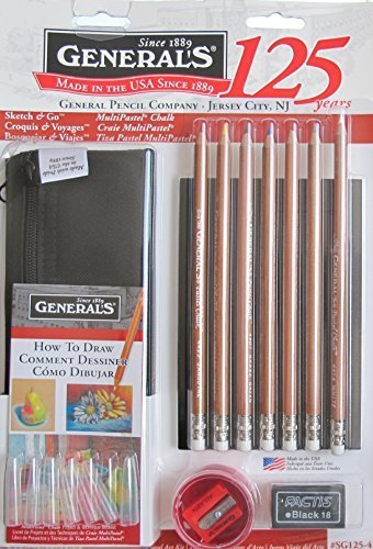 GENERAL'S Sketch & Go MULTI PASTEL CHALK Travel ART KIT DRAWING Set w 7 Multi-PASTEL CHALK ART PENCILS, Pencil BAG, DRAWING JOURNAL & More (2014 Made in USA) by General's