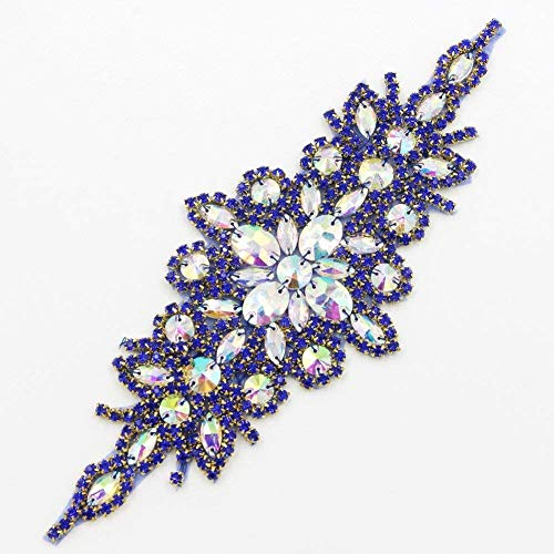 (ShiDianYi Crystal Appliques for Clothes Royal Blue Rhinestone Appliques for Dresses Clear Packing Dress Clothing~1206E)