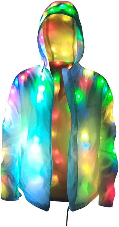 LED Light Up Plus Baseball Jacket Glow Men Women Hooded Halloween Party Costume