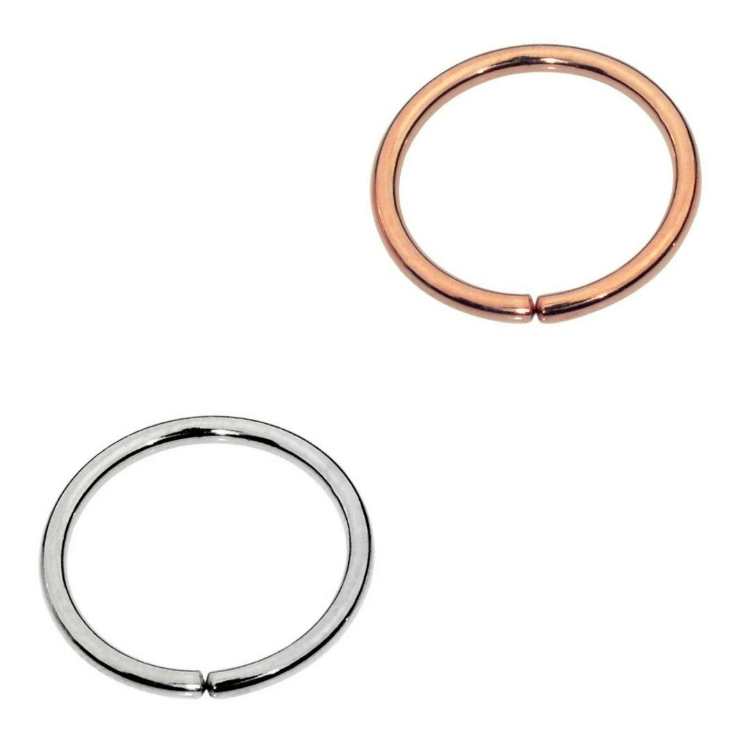 Sampson Nose Ring Hoop - One Pair - Tragus Cartilage Helix Earring - One Sterling Silver One 14K Rose Gold Filled- 20 Gauge 7mm Inner Diameter