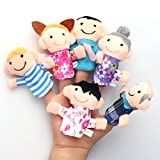 M&M Mymoon 6Pcs Family Finger Puppets Play Game Tell Story Plush Cloth Toy Gift for Children Baby Kids Newborns