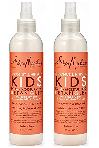 Shea Moisture Coconut & Hibiscus KIDS Extra Moisturizing Detangler, Slippery Elm and Marshmallow Extracts, Anti-Frizz, Moisture & Shine 8 oz, Pack of 2 by Shea Moisture