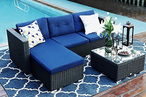 MF STUDIO 3 Piece Patio Sectional Furniture Outdoor Sofa Set with Upgrade Rattan Wicker, Navy Blue