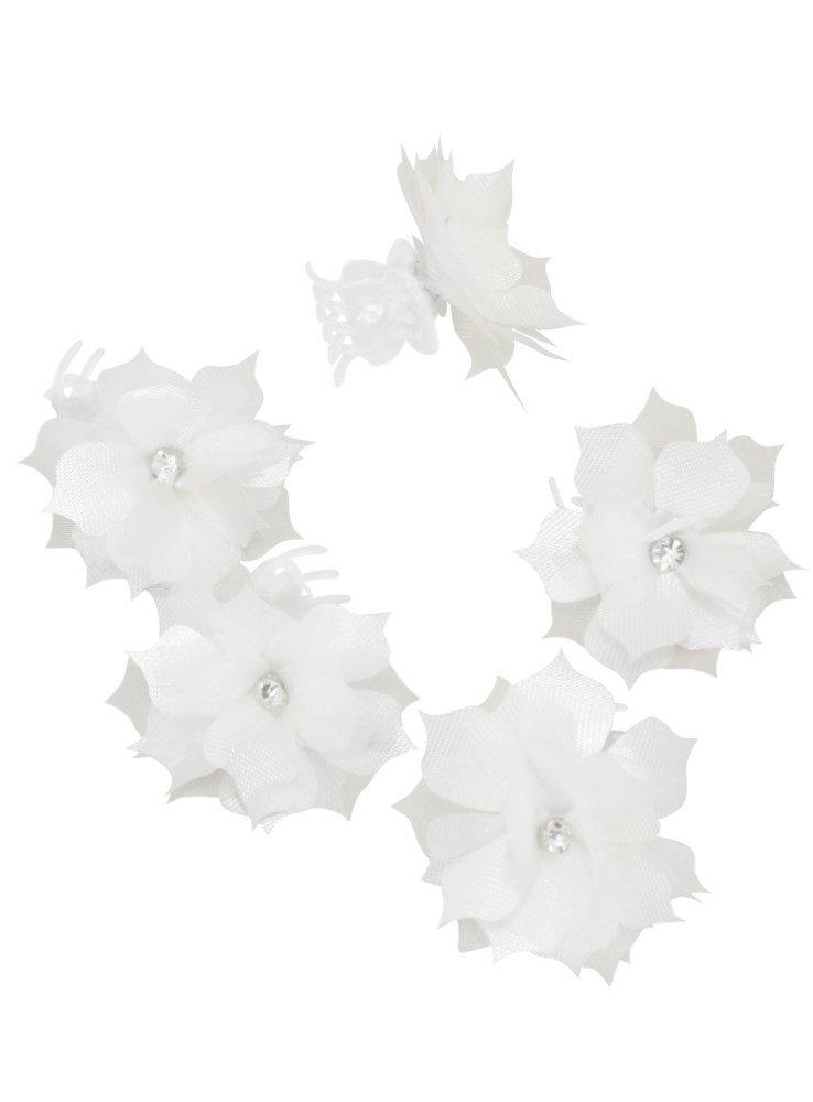 Pinces crabes pour coiffure enfant mariage communion - lot de 5 - Blanc - Taille Unique Boutique-Magique