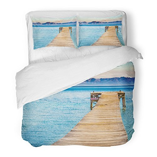 SanChic Duvet Cover Set Beautiful Scenery with Jetty at the Seaside of Alcudia Beach Platja De Muro Spain Majorca Mediterranean Decorative Bedding Set with Pillow Sham Twin Size by SanChic