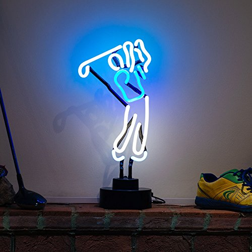 indoor-glass-tube-neon-signs-with-on-off-switch-on-base-a4-sizebusiness-signs-with-golf-boy-sculptur