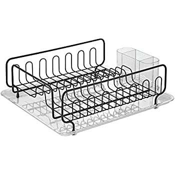 InterDesign Forma Kitchen Dish Drainer Rack With Tray For Drying Glasses,  Silverware, Bowls,