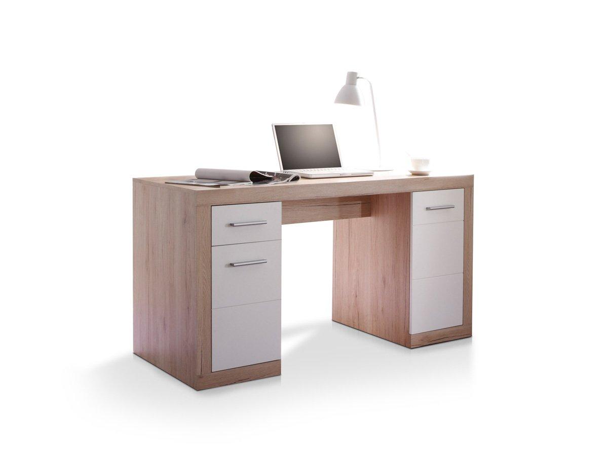 CHESTER Schreibtisch 145 cm Computertisch Bürotisch Dekor Eiche Weiß Büromöbel