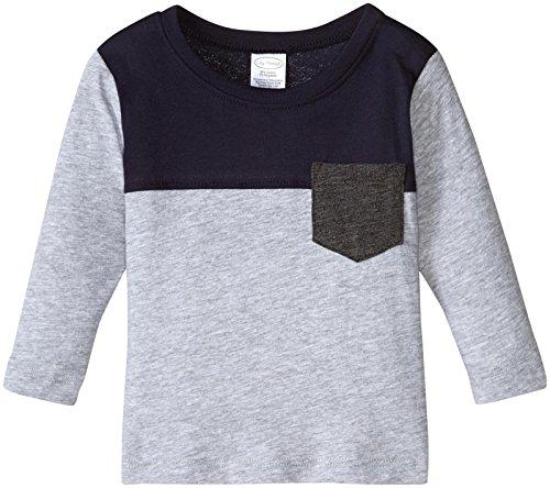 (City Threads Baby Boys' Color Block Soft Jersey Pocket Tee, Infant, Heather Gray/Navy Yoke, 12-18m)