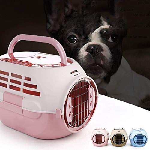 YBQ Fashion Pet Portable Cage, Dog Out with Skylight Pet Air Box, Out Portable Cat Consignment Box, Air Cage,Blue Easy to Clean (Color : Pink)