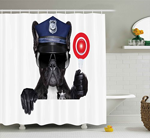 Animal House Siren - Ambesonne Police Shower Curtain, Animal Dog Pug Wears Glasses Thumbs up with Sirens Traffic Police Like Artwork, Fabric Bathroom Decor Set with Hooks, 105 Inches Extra Wide, Blue and Black
