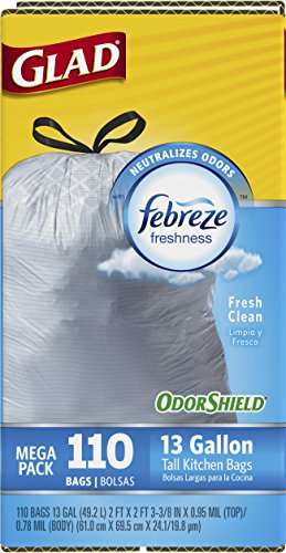 Glad OdorShield Tall Kitchen Drawstring Fresh Clean Trash Bags, 13 Gallon, 110 Count>