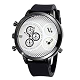 New Men's Genuine Leather Strap Luminous Waterproof Quartz Watches Luxury Brand Sports Dual Time Zones Wristwatches For Male Boys