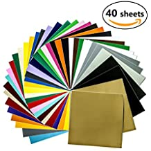 """Permanent Adhesive Backed Crafting Vinyl Sheets 12""""x12""""-40 Sheets Assorted Colors (Glossy,Matte,Metallic and Brushed Metallic) for Cricut,Silhouette Cameo,Craft Cutters,Printers,Letters,Car Decals"""